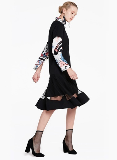 Transparan Şerit Etekli Kısa Kol Elbise-Twist